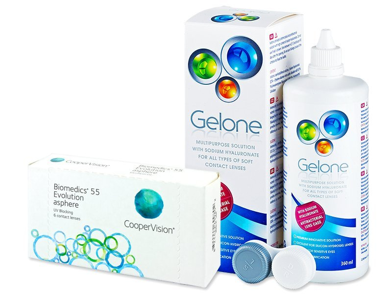 Biomedics 55 Evolution (6 lenses) + Gelone Solution 360 ml