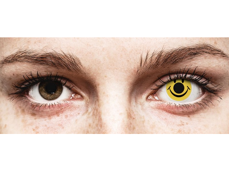 Yellow Smiley Contact Lenses - ColourVue Crazy (2 coloured lenses)